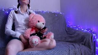 Schoolgirl And Her Beloved Teddy Bear