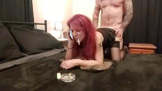 BORED SMOKING FUCK   MILF Cucks Husband On Phone To Her Lover
