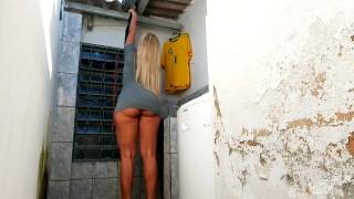Hot Blonde Brasilian MILF Cleaning In Too Short Grey Minidress Upskirt Ass!