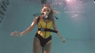 Scuba Underwater In Yellow One Piece Swimsuit