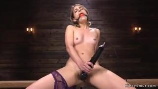 Hairy Pussy Petite Blonde Babe Kristen Scott Masturbates With Vibrator Then In Rope Bondage And Gagg