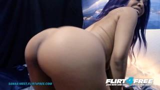 Sanaa West On Flirt4Free   Ebony Babe W Huge Tits Sucks Her Perfect Nipples