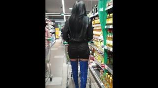 Granate Shopping In Pvc Thigh High Boots, See Through Minidress