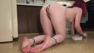 Slavegirl Scrubs Kitchen Floor In Chains With A Toothbrush