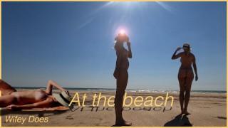 Exhibitionist Wife Beach Voyeur 4k   Fully Nude   Wifey Does