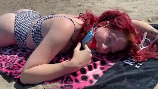 Slavegirl Ball Gagged At The Beach During Coronavirus (REQUESTED VIDEO)