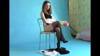Kate Modeling Stockings High Heels Topless Leggy Model