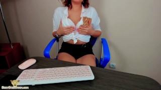 Secretary Masturbate Pussy Lovens Lush After Remote Work