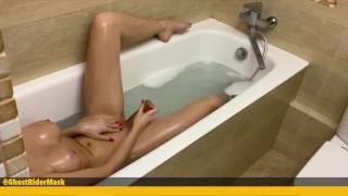 Step Sister Plays In The Bathroom With A Dildo. Spy Cam