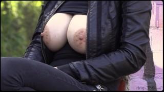 Exposed In Public   Busty Pierced Blonde