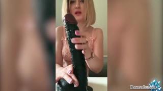 Babe Jerk Off Huge Black Dildo   Hot Amateur Solo