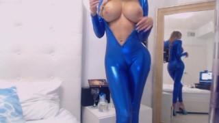 Webcam Goddess In Shiny Blue Bodysuit