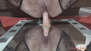 Anita Jones Squirts While Riding Dildo On Mirror