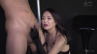 Japanese Mistress Teasing Slave With Black Satin Gloves