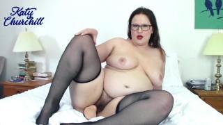 Hairy BBW In Pantyhose & Stockings   Katy Churchill Nylons Dildo Curvy Bush