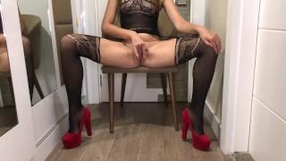 Gorgeous Girl In Heels Masturbates   SashaStey