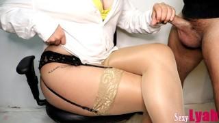 Secretary Jerks Off New Boy At Work Until Cum On Crossed Legs In Pantyhose #12