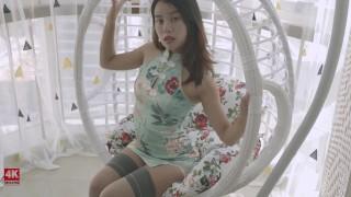 4K映像 琪琪的夏日午后 摇篮 旗袍 长筒袜 高跟鞋 丝袜勒嘴 五花大绑