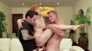 Redhead Slut Gets Dicked   Threesome DP Sex