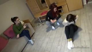 3 Girls Taped Up In White Socks