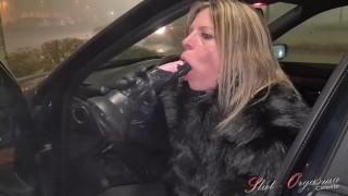 Slut Orgasma Celeste Equine Dildo Deep Throat On A Public Parking Lot Before Shopping