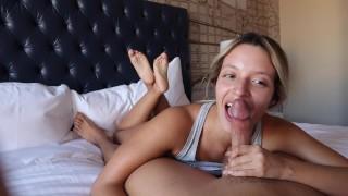 Hottest Close Up POV Blowjob + Bare Feet = Cock Ride Finish!