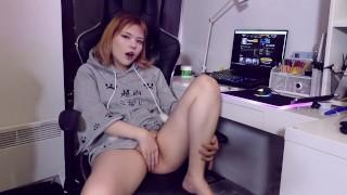 Cutie Masturbates On A Chair