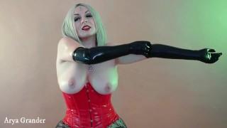 Gloves Latex Rubber Fetish. Long Opera Gloves. Full HD Video Hot BDSM Of Arya Grander In PVC Corset