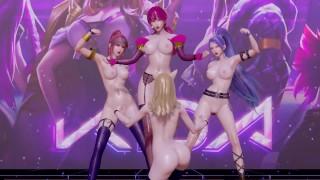 [MMD] Black Pink   How You Like That Nude Vers. Ahri Akali Evelynn Kaisa 3D Erotic Dance