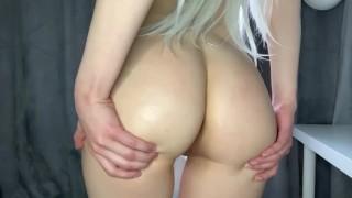 Blonde Spanks Herself On Her Wet Ass After Sex