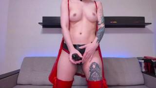 Red PVC Dress And A Big Black Strapon