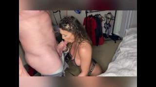 Hot Big Tit Brunette Gives Amazing Blowjob