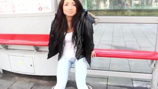 Brunette Babe Gia Whitechapel Pissing Outdoors