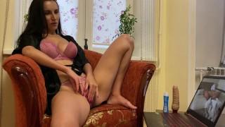 Brunette In A Short Robe Watches Porn And Masturbates