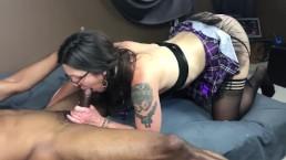 Purple MILF Schoolgirl Loves To Swallow And Fuck Black Dick