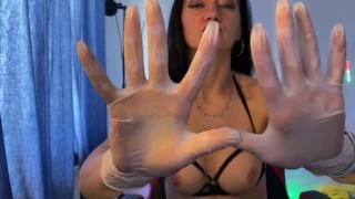 Mistress In Medical Latex Gloves And Handjob