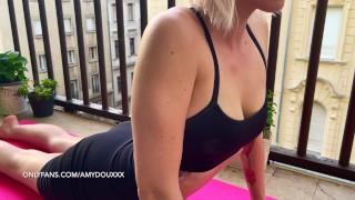 Blonde Teen Skimpy Yoga On The Balcony