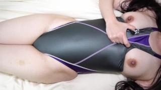 Racing Swimsuit Japanese Image Video Asics TLINER K Gray&purple